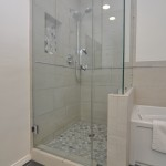 Shower with glass enclosure