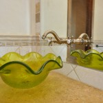 Hand blown vessel sink