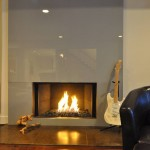 Modern looking glass fireplace