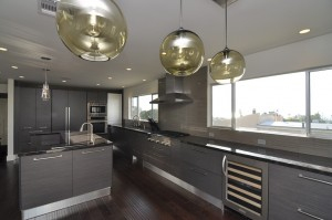 modern kitchen with wood grain Italian cabinets