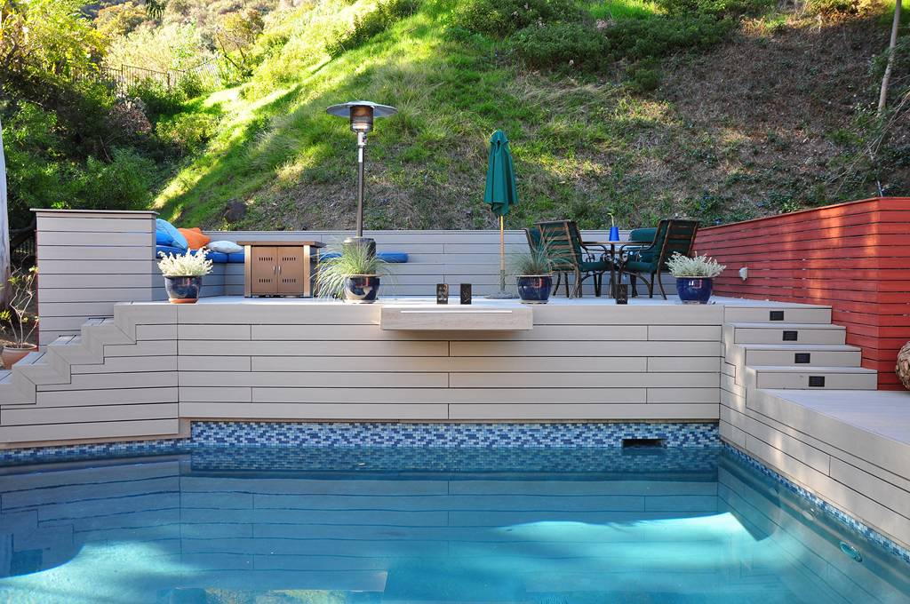 Outside deck index of imagesdeck with outside deck free for Hillside pool ideas